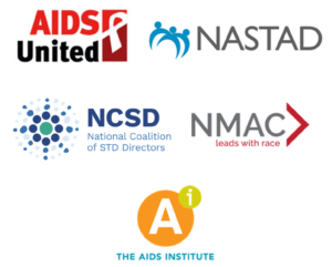 Partner Logos - AIDS United, NASTAD, NCSD, NMAC, The AIDS Institute