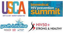 Four logos: U.S.C.A, Biomedical HIV Summit, Youth Initiative, HIV 50+ Strong
