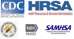 Government logos: C.D.C., H.R.S.A., Indian Health Service,N.I.H., S.A.M.H.S.A.